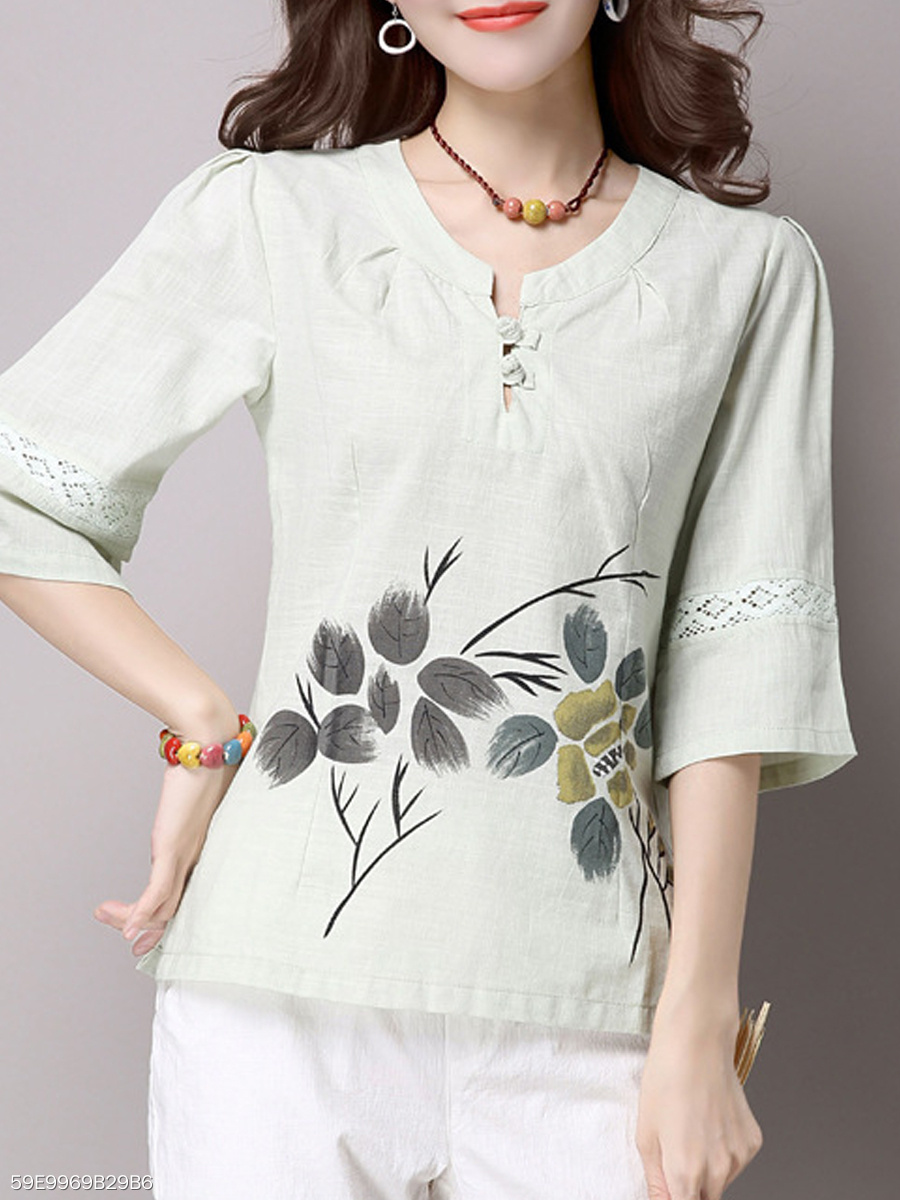 Spring Summer  Cotton  Women  Round Neck  Decorative Button  Floral Printed Blouses