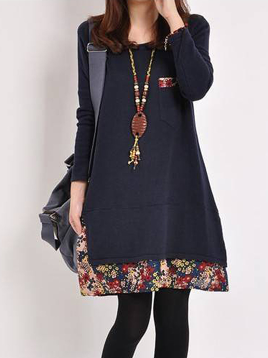 Casual Round Neck Printed Shift Dress