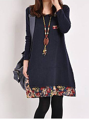 Casual-Round-Neck-Printed-Shift-Dress