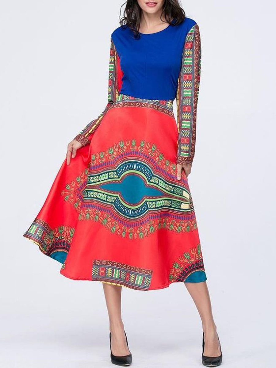 Round Neck Tribal Printed Maxi Dress