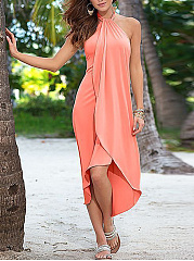 Halter  Plain Maxi Dress