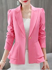 Notch Lapel  Curved Hem  Plain  Long Sleeve Blazers