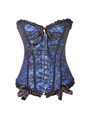 Women Sexy Lace Steel Buckle Strapless Bustier Lace-Up Plastic Bone Corsets