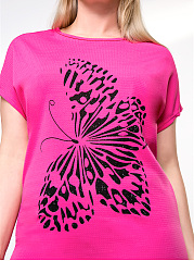 Simple Butterfly Printed Round Neck Plus Size T-Shirt