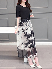 Round Neck Patchwork Belt Printed Maxi Dress