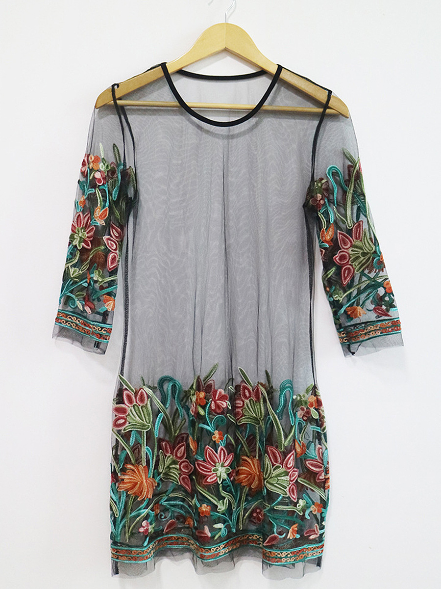 Round Neck  See-Through  Embroidery Shift Dress
