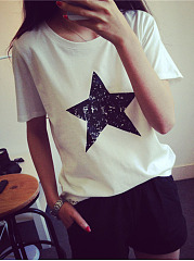 Summer  Cotton  Women  Round Neck  Printed Short Sleeve T-Shirts