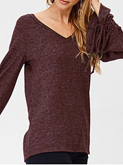 Autumn Spring  Polyester  Women  V-Neck  Plain  Tie Sleeve Long Sleeve T-Shirts
