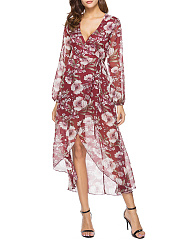 Chiffon  Surplice  Printed Maxi Dress