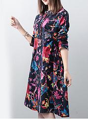 Band Collar  Floral Printed Shift Dress