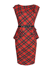 Crew Neck  Belt  Plaid Plus Size Bodycon Dresses