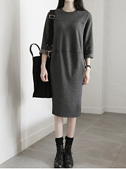 Round Neck  Casual Plain Shift Dress