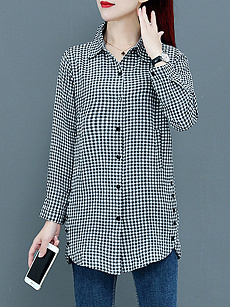 Lapel  Patchwork  Elegant  Plaid  Long Sleeve  Blouse