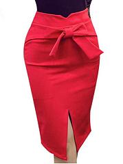 Plain-Bowknot-Slit-Pencil-Midi-Skirt