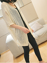 Hollow Out Plain  Half Sleeve Cardigans