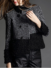 Collarless Double Breasted Patchwork Woolen Coat