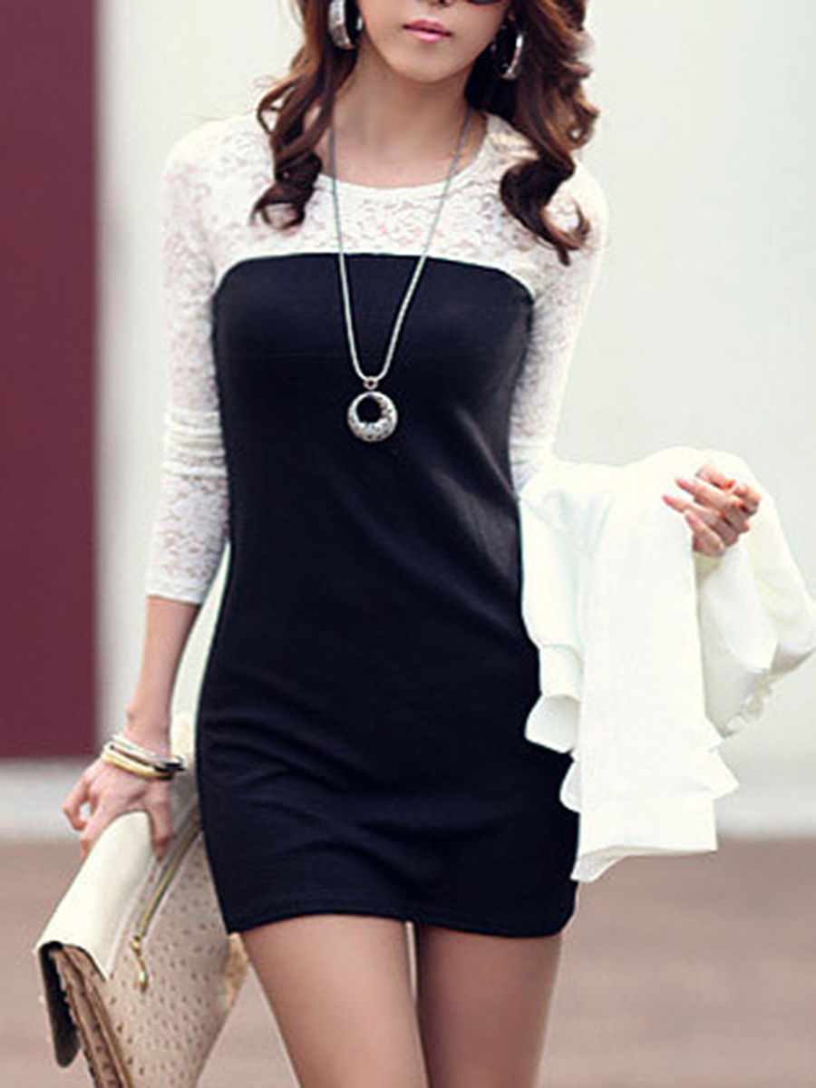 Color Block Hollow Out Round Neck Mini Bodycon Dress