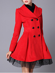 Lapel Double Breasted Plain Woolen Swing Coat