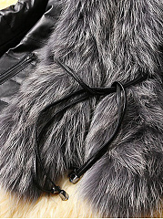 Faux Fur Collar Pocket PU Leather Quilted Padded Coat