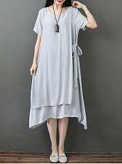 Round Neck  Asymmetric Hem  Fake Two-Piece  Plain Maxi Dress