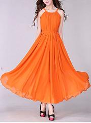 Round-Neck-Plain-Blend-Maxi-Dress
