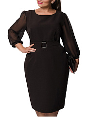 Round Neck  Hollow Out Plus Size Bodycon Dress