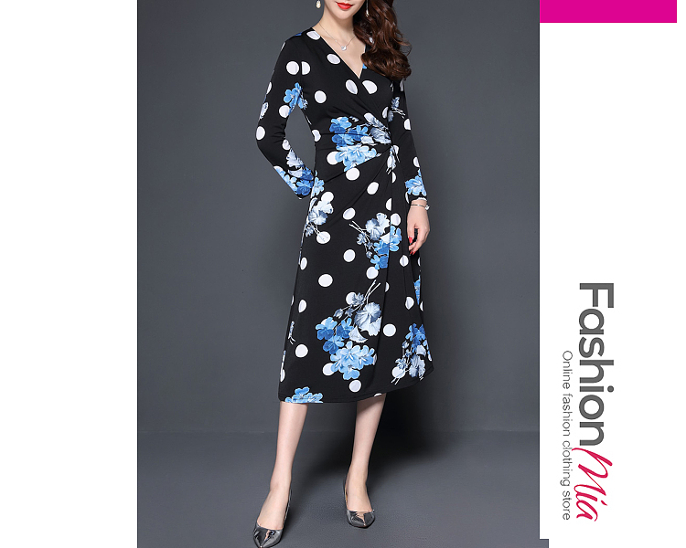 thickness:regular, style:fashion, material:polyester, collar&neckline:v-neck, sleeve:long sleeve, pattern_type:printed, length:calf-length, how_to_wash:cold gentle machine wash, supplementary_matters:all dimensions are measured manually with a deviation of 2 to 4cm., occasion:date, season:autumn,winter, dress_silhouette:empire line, package_included:dress*1, shouldersleeve lengthbustwaist