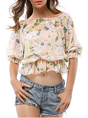 Summer  Polyester  Women  Open Shoulder  Floral Printed  Half Sleeve Blouses