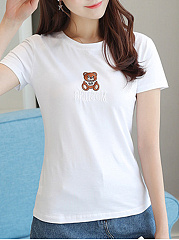 Round Neck  Embroidered  Animal Prints Short Sleeve T-Shirts