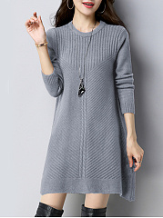 Round Neck  Plain Knit Basic Shift Dress