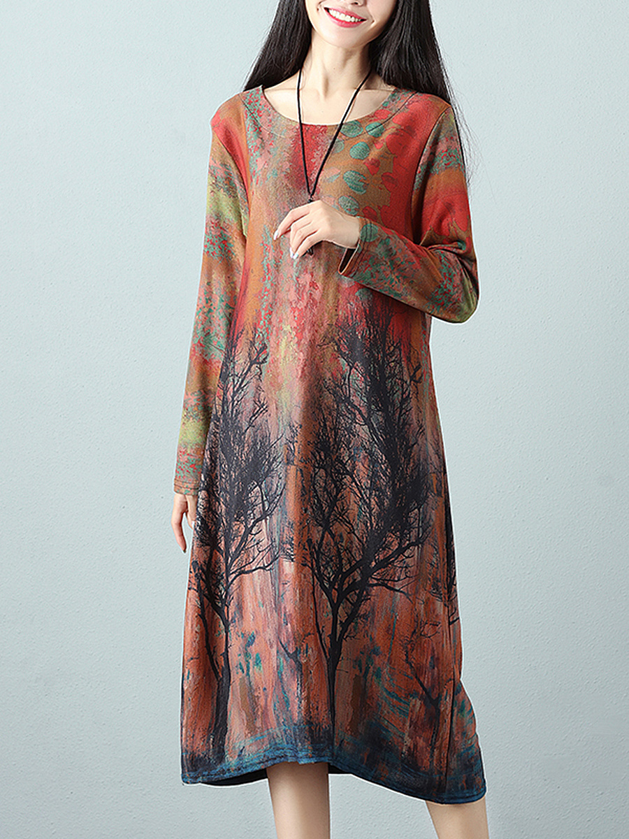 Round Neck Multi-Color Printed Loose Maxi Dress