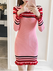 Round Neck Striped Ruffled Hem Knitted Bodycon Dress