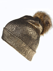 Hot Europe Stylish Gilding Pompom Decoration Knitted Hats