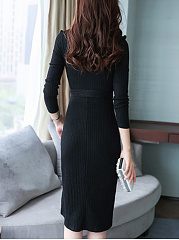 Crew Neck Belt Plain Knitted Maxi Dress