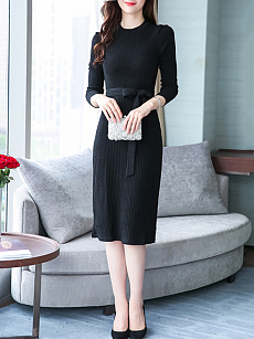 Taylor myntra Dress Bodycon Slit Bell Knitted Sleeve Plain Lace-Up beginners