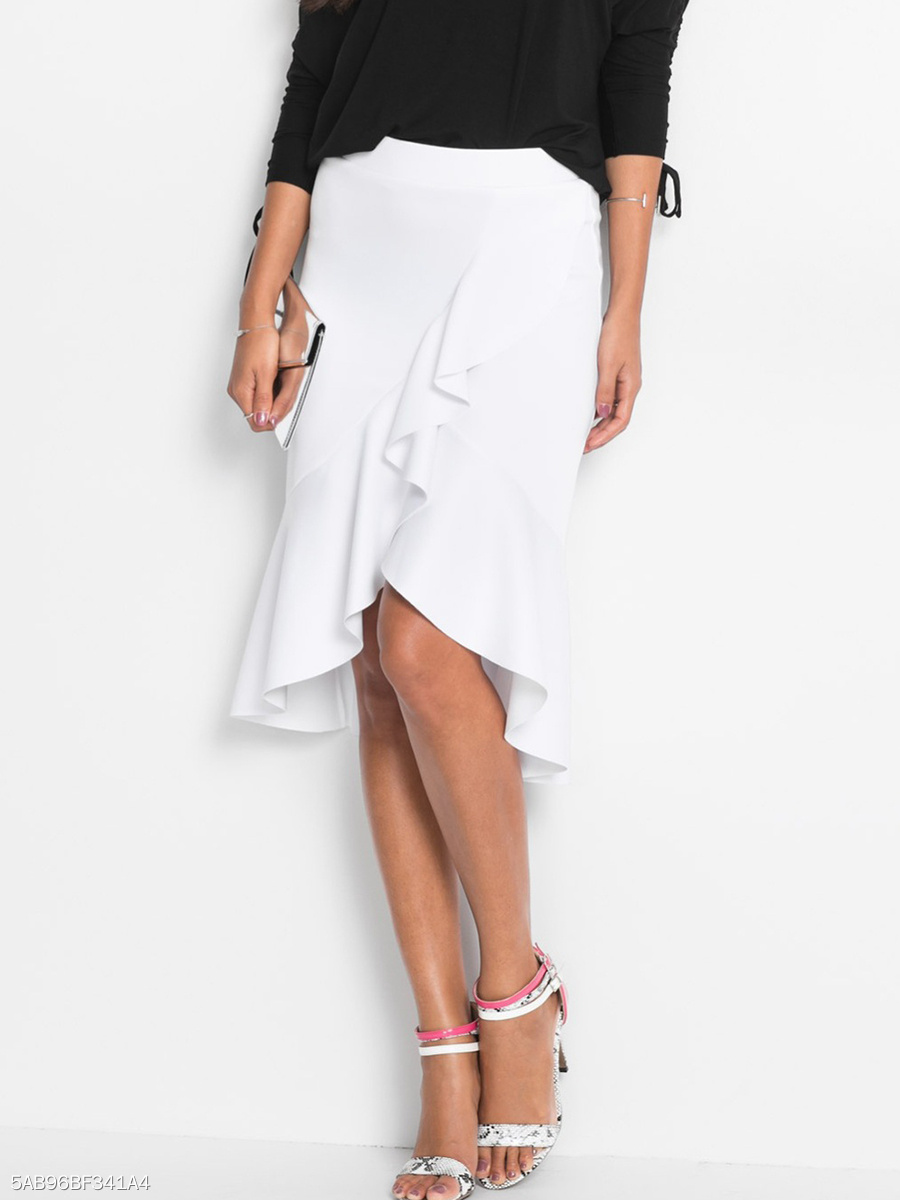 Flounce High-Low Plain Midi Skirt