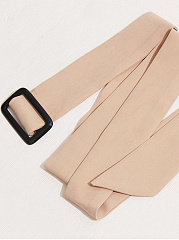 Notch Lapel  Belt  Plain  Long Sleeve Blazers