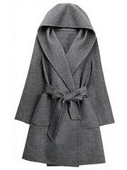 Hooded-Patch-Pocket-Belt-Plain-Woolen-Wrap-Cardigan