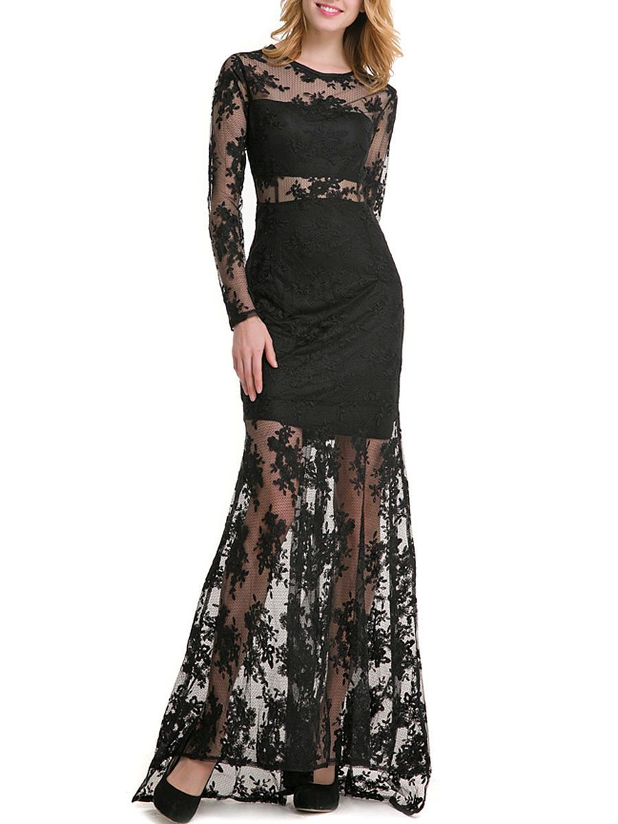 Celebrity Mermaid See-Through Solid Lace Evening Dress