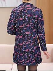 Lapel Abstract Print Slit Pocket Long Sleeve Trench Coat