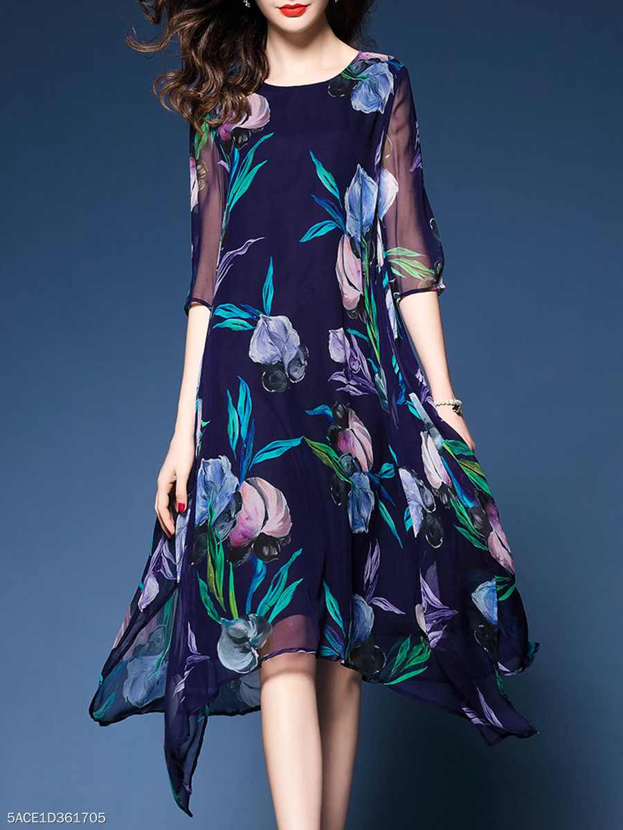 Asymmetric Hem Floral Hollow Out Shift Dress