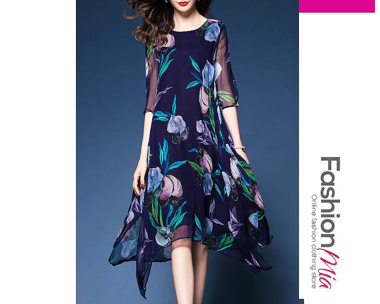 Image of Asymmetric Hem Floral Hollow Out Shift Dress