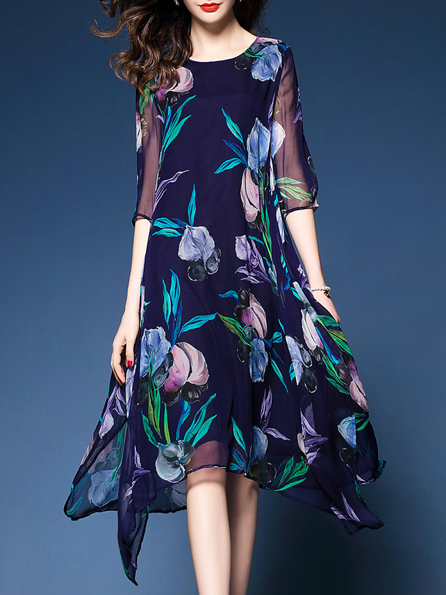 Image of Fashionmia Asymmetric Hem Floral Hollow Out Shift Dress