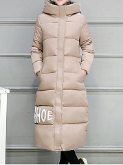 Hooded  Slit Pocket  Letters Coat