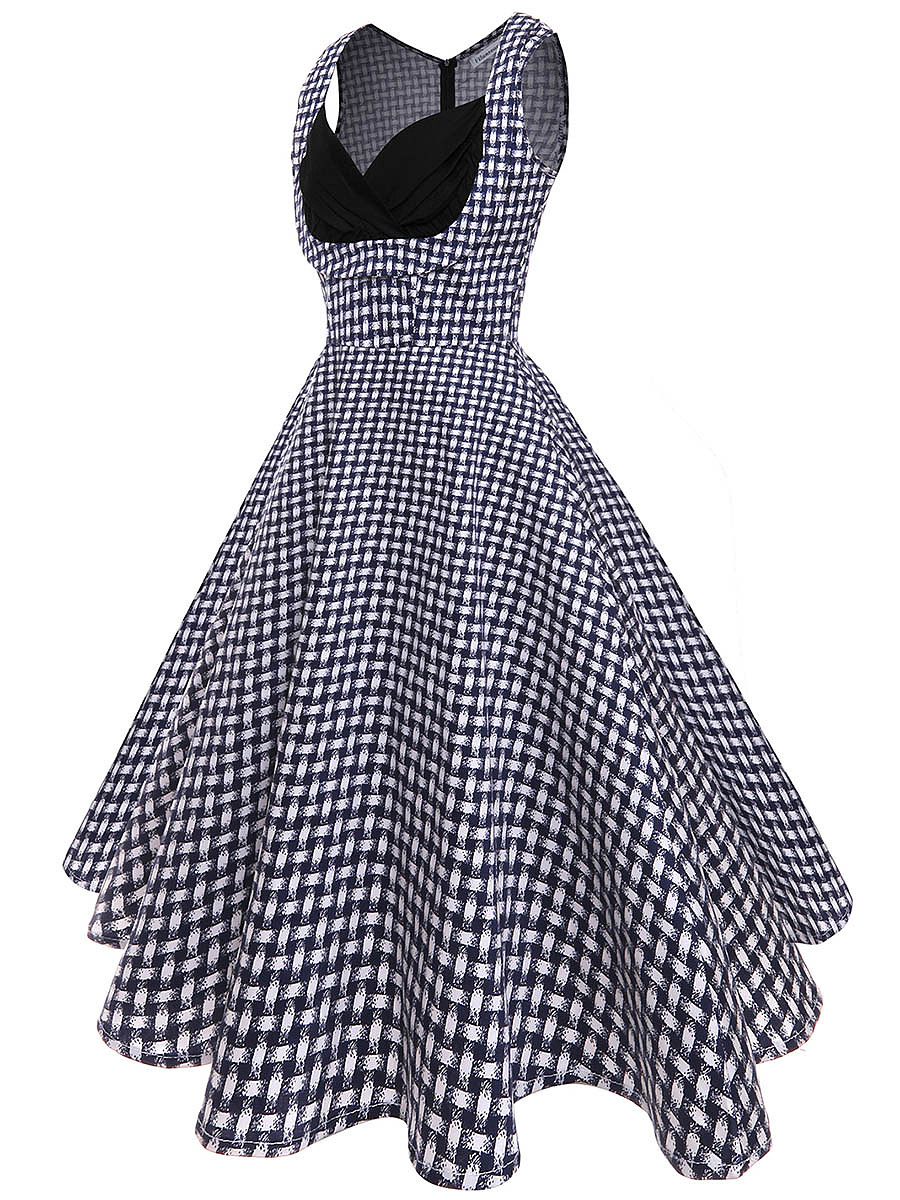 Vintage Sweet Heart Printed Cotton Skater Dress
