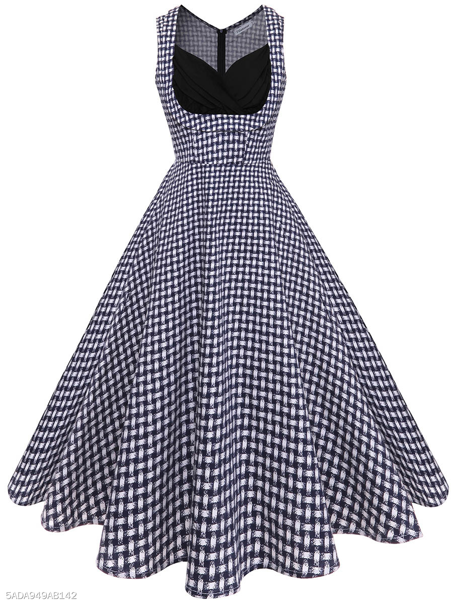 Vintage Sweet Heart Printed Cotton Skater Dress