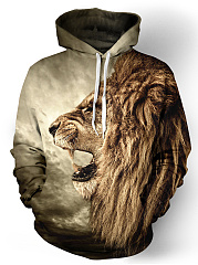 Kangaroo Pocket 3D Lion Printed Men Hoodie