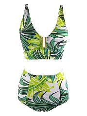 Tropical-Spaghetti-Strap-Leaf-Printed-Bikini