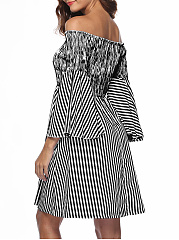 Word Collar  Striped Skater Dress