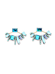 Fan Shape Imitated Crystal Earrings